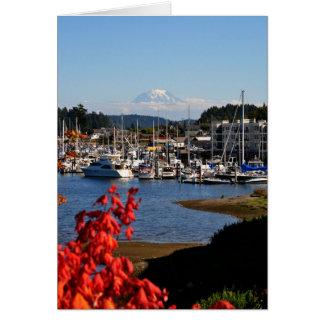 Cartão O Monte Rainier do porto da actuação, WA