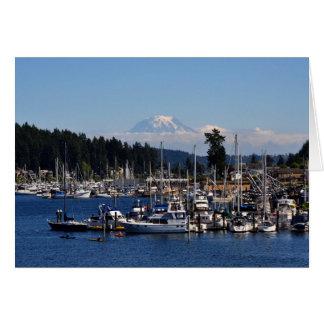 Cartão O Monte Rainier no porto da actuação, WA