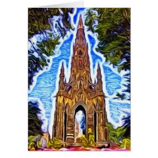 Cartão O monumento de Scott, Edimburgo, Scotland.