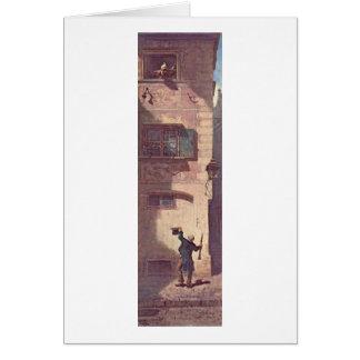 Cartão O músico do mendigo por Carl Spitzweg