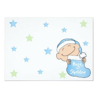 """Cartão O Natal 7"""" x 5"""" bebê BlueThank You/2 tomou"""