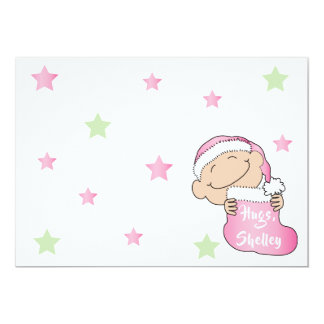 """Cartão O Natal 7"""" x 5"""" o obrigado You/2 do rosa de bebê"""