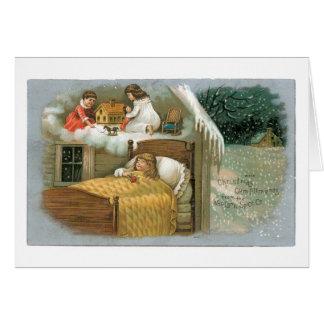 Cartão O Natal antiquado, menina está sonhando