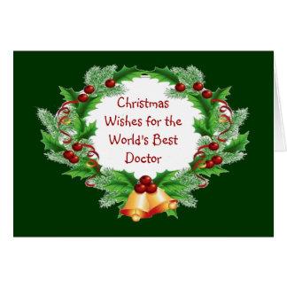 Cartão O Natal deseja a grinalda da baga do azevinho para