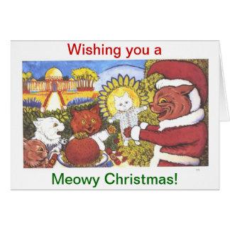 Cartão O Natal dos gatos, por Louis Wain