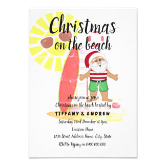 Cartão O Natal no partido do papai noel do verão da praia