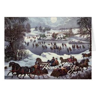 Cartão O natal vintage agradece-lhe