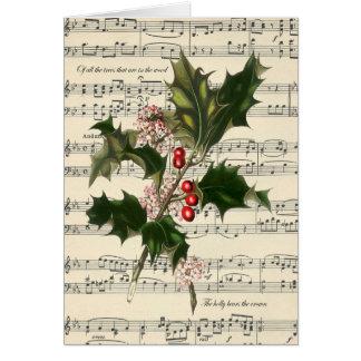 Cartão o natal vintage carda a contagem botânica da