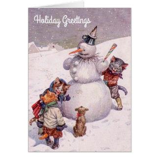 Cartão O natal vintage carda, boneco de neve & gatos