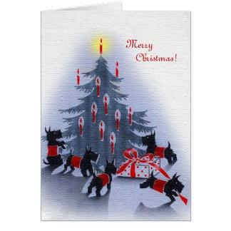 Cartão O natal vintage carda, cães do Scottie