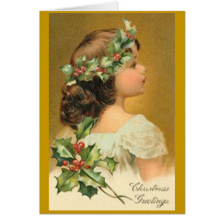 Cartão O natal vintage carda com menina do Victorian