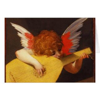 Cartão O natal vintage musical do anjo
