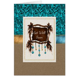 Cartão O nativo americano obtem bem logo