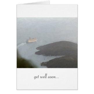 """Cartão O navio de cruzeiros que sae do porto """"obtem bem"""
