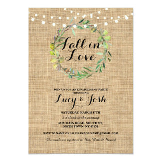 Cartão O noivado de serapilheira da grinalda do amor da