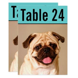 Cartão O número da mesa da foto do animal de estimação