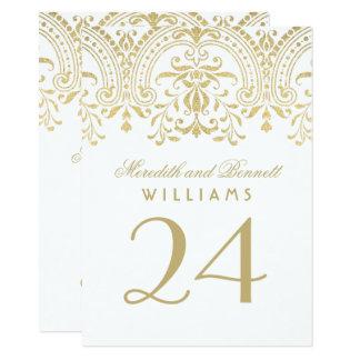 Cartão O número Wedding da mesa carda o encanto do