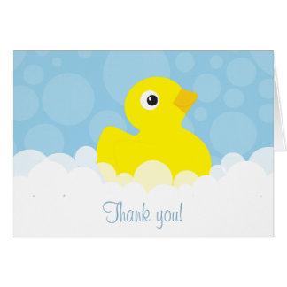 Cartão O obrigado Ducky de borracha você nota - o azul