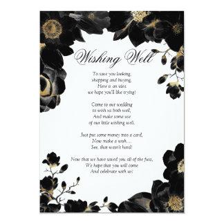 Cartão O ouro acentuou o poço de desejo floral preto