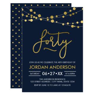 Cartão O ouro azul moderno elegante do falso ilumina o