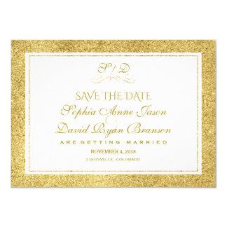 Cartão O ouro chique e o casamento branco da beira salvar