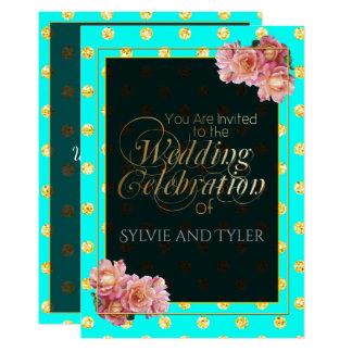 Cartão O ouro colorido de turquesa e as bolinhas