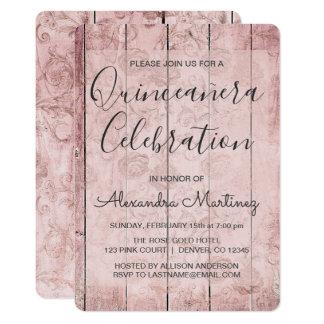 Cartão O ouro cor-de-rosa   cora Quinceanera rústico