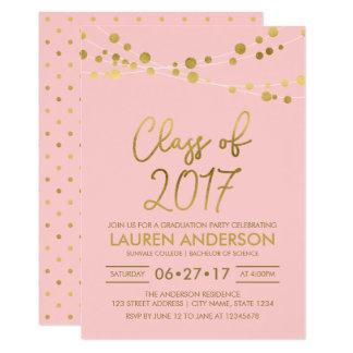 Cartão O ouro cor-de-rosa do falso ilumina uma classe da