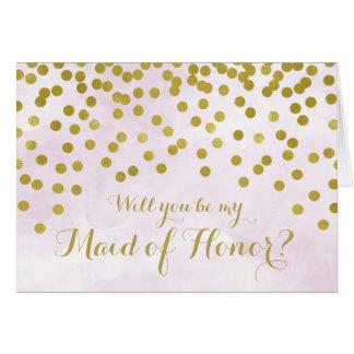 Cartão O ouro da aguarela do Lilac pontilha a empregada