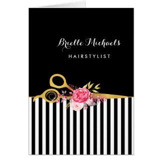 Cartão O ouro do falso Scissors o cabeleireiro floral