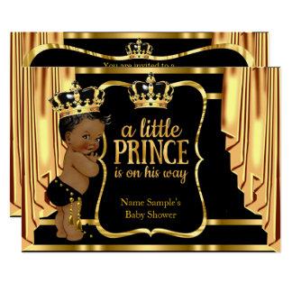 Cartão O ouro do preto do príncipe chá de fraldas drapeja