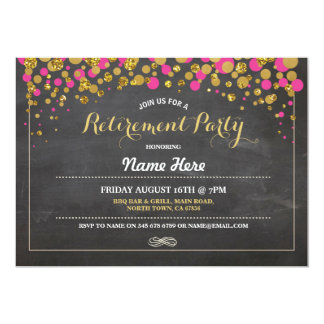 Cartão O ouro do rosa do giz do partido de aposentadoria