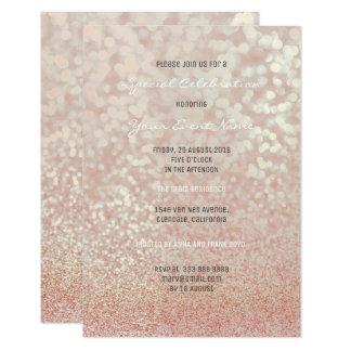 Cartão O ouro do rosa do rosa cora brilho Champagne