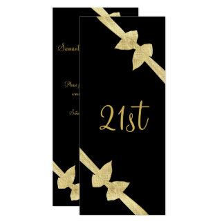 Cartão O ouro elegante do falso curva o aniversário de 21