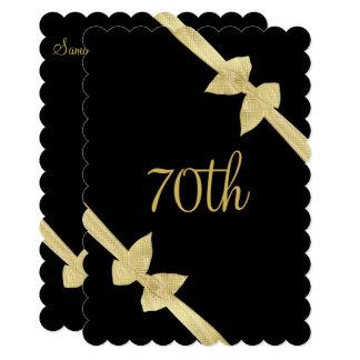 Cartão O ouro elegante do falso curva o aniversário do 70