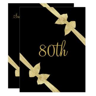 Cartão O ouro elegante do falso curva o aniversário do 80