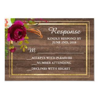 Cartão O ouro rústico floral de Borgonha cora resposta