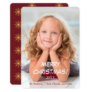 Cartão O ouro Stars o Natal moderno vermelho
