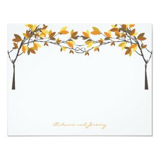 Cartão O outono da queda atou as árvores de amor que