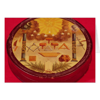 Cartão O Oval pintou a caixa, com símbolos da maçonaria