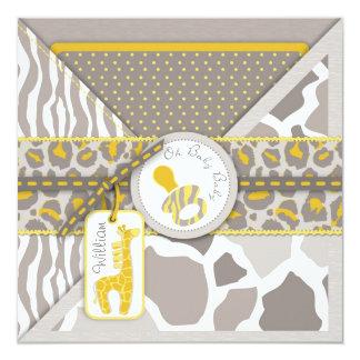 Cartão O Pacifier do safari do girafa acopla o chá de