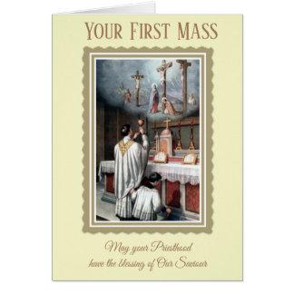 Cartão O padre comemora sua primeira massa