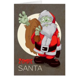 Cartão O papai noel do zombi traz presentes para o Natal