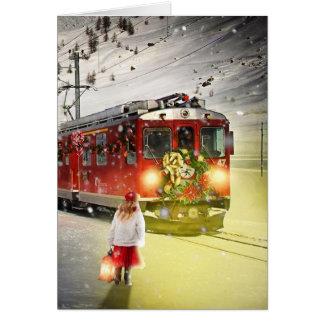 Cartão O papai noel expresso do Pólo Norte - trem do