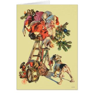 Cartão O papai noel levanta uma escada