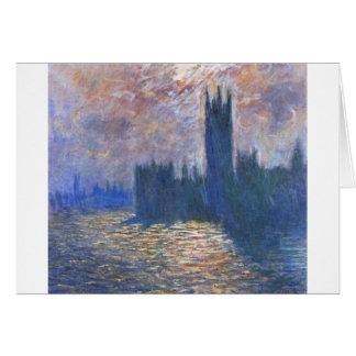 Cartão O parlamento, reflexões na Tamisa Claude Monet