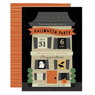 Cartão O partido assombrado do Dia das Bruxas da casa