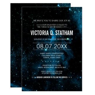 Cartão O partido azul de Mitzvah do bastão da galáxia