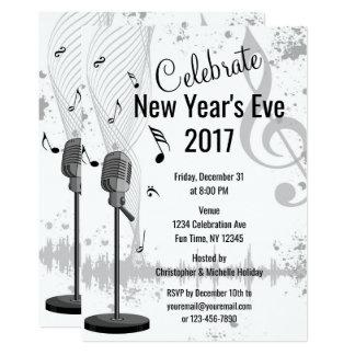 Cartão O partido branco preto musical da véspera de Ano