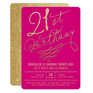 Cartão O partido de aniversário de 21 anos adulto Glam do